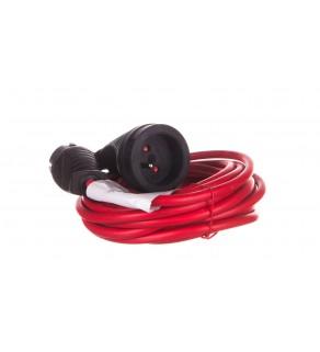 Kabel przedłużajacy (przedłużacz) 5m czerwony 1x230V H05VV-F 3G1,5 1167454